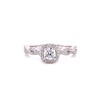 10 Karat White Gold Round Center with Cushion Diamond Halo and Infinity Shank Engagement Ring