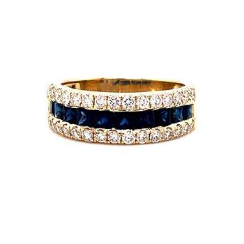 14 Karat Yellow Gold Round Diamonds and Baguette Sapphires Diamond Band