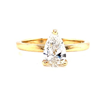 14 Karat Yellow Gold Pear Cut Solitaire Engagement Ring with Polished Shank