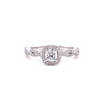 10 Karat White Gold Round Center with Cushion Diamond Halo and Infinity Shank Engagement Ring