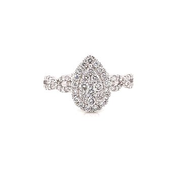 14 Karat White Gold Pear Illusion Center with Diamond Halo and Infinity Diamond Shank Engagement Ring
