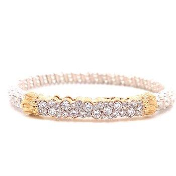 14 Karat Yellow Gold and Sterling Silver Diamond Bar Bracelet