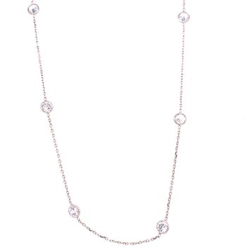 14 Karat White Gold CZ Bezel Station Necklace