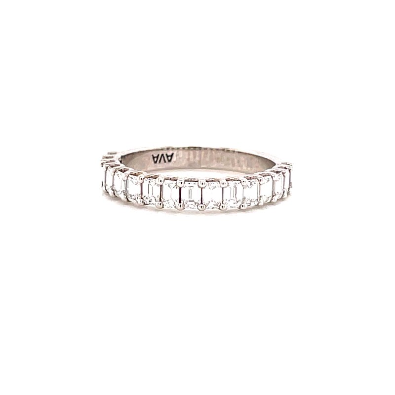 Corinth Collections  18 Karat White Gold Emerald Diamond Stacker Band