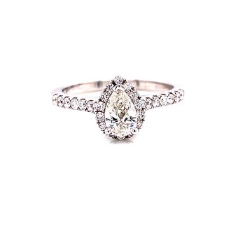 14 Karat White Gold Pear Cut Diamond Center with Halo Engagement Ring