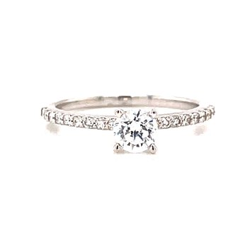 14 Karat White Gold 4 Prong Round Solitaire Engagement Ring