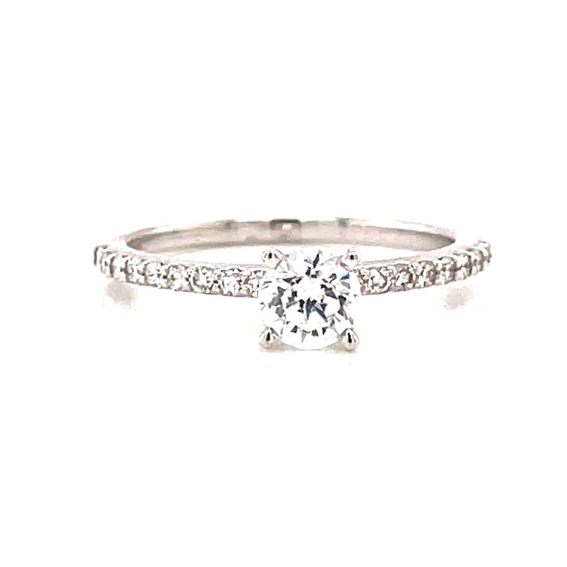 Corinth Collections  14 Karat White Gold 4 Prong Round Solitaire Engagement Ring
