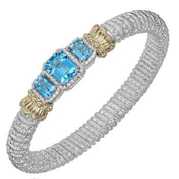 14 Karat Yellow Gold and Sterling Silver 8mm Graduated 3-Stone Swiss Blue Topaz and Diamond Vahan Bracelet