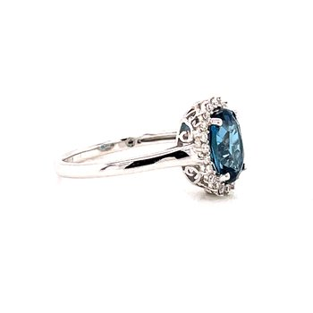 14 Karat White Gold London Blue Topaz and Diamond Fashion Ring with Diamond Halo