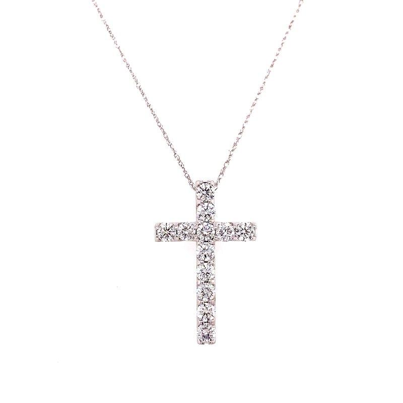 Corinth Collections  14 Karat White Gold Diamond Cross Necklace