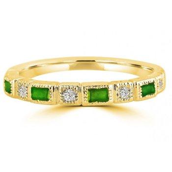 10 Karat Yellow Gold Diamond and Baguette Cut Emeralds Stacker Band