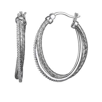Sterling Silver Intertwined Oval Hoops with CZs