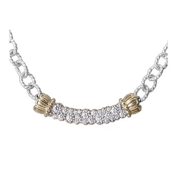 Karat Yellow Gold and Sterling Silver Vahan Diamond Bar Necklace