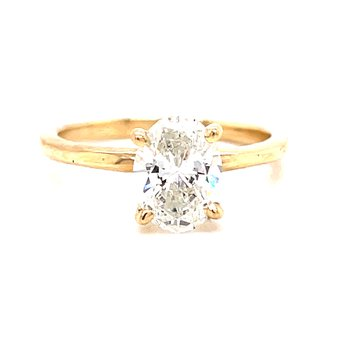 14 Karat Yellow Gold 4- Prong Oval Solitaire Engagement Ring