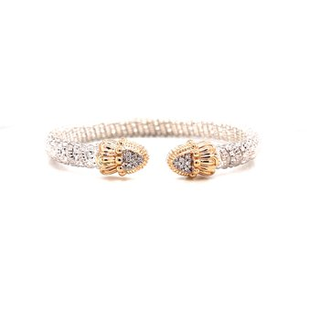 14 Karat Yellow Gold and Sterling Silver Pointed Diamond Cuff with Yellow Gold Beaded Accents Vahan Bracelet
