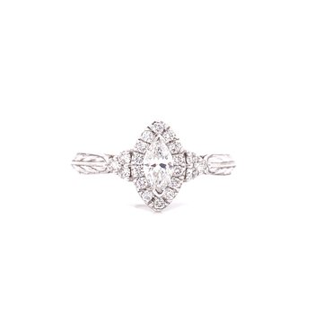 14K White Gold Marquise Center with Diamond Side Stones and Halo