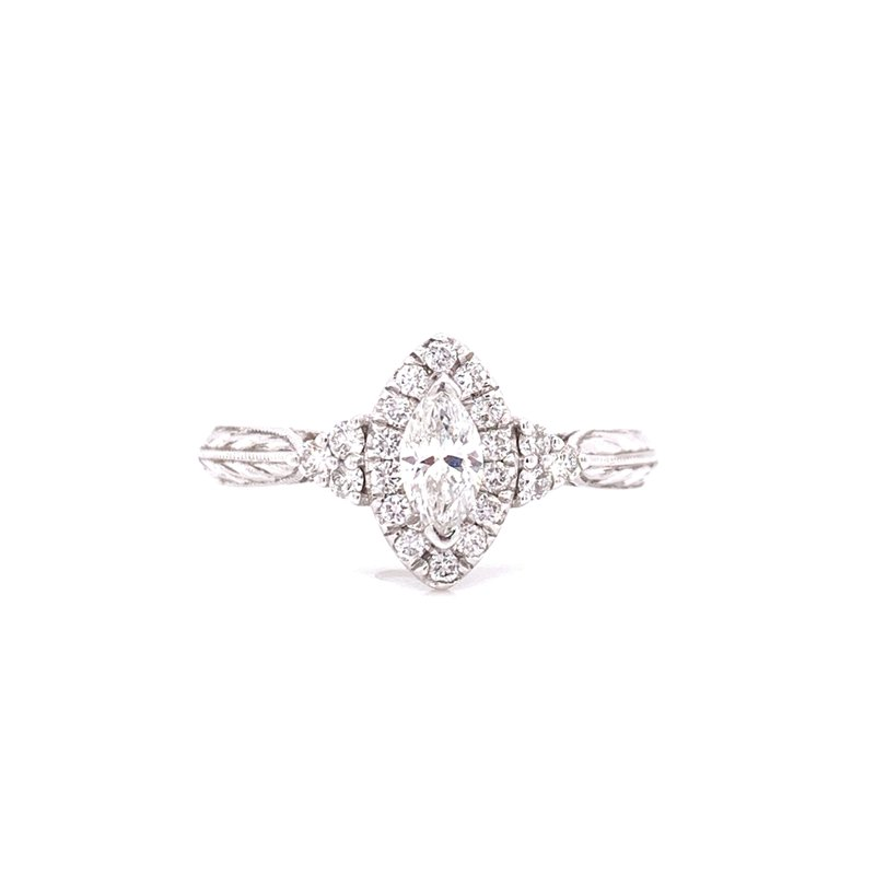 Corinth Collections  14K White Gold Marquise Center with Diamond Side Stones and Halo
