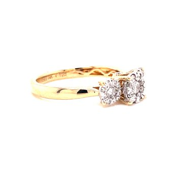14 Karat Yellow Gold 3-Stone Round Illusion Center with Polished Shank and Single Diamond Detail Engagement Ring