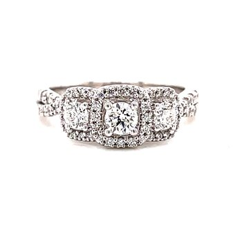 14 Karat White Gold Round 3-Stone with Cushion Diamond Halo and Twisted Diamond Shank Engagement Ring