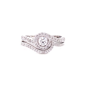 14 Karat White Gold Round Curved Diamond Wedding Band