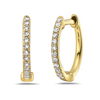 14 Karat Yellow Gold Petite Diamond Huggie Earrings