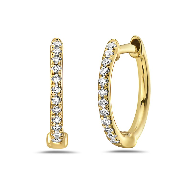 Corinth Collections  14 Karat Yellow Gold Petite Diamond Huggie Earrings