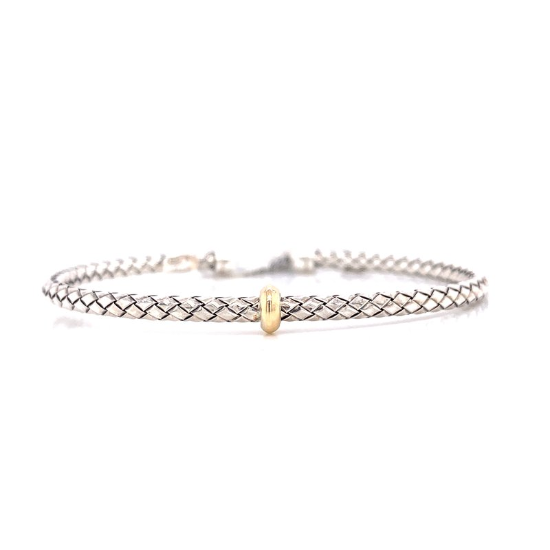 Corinth Collections  Sterling Silver with 18K Yellow Gold Single Rondell