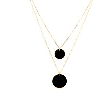 14 Karat Yellow Gold Double Layered Round Disk Fashion Necklace
