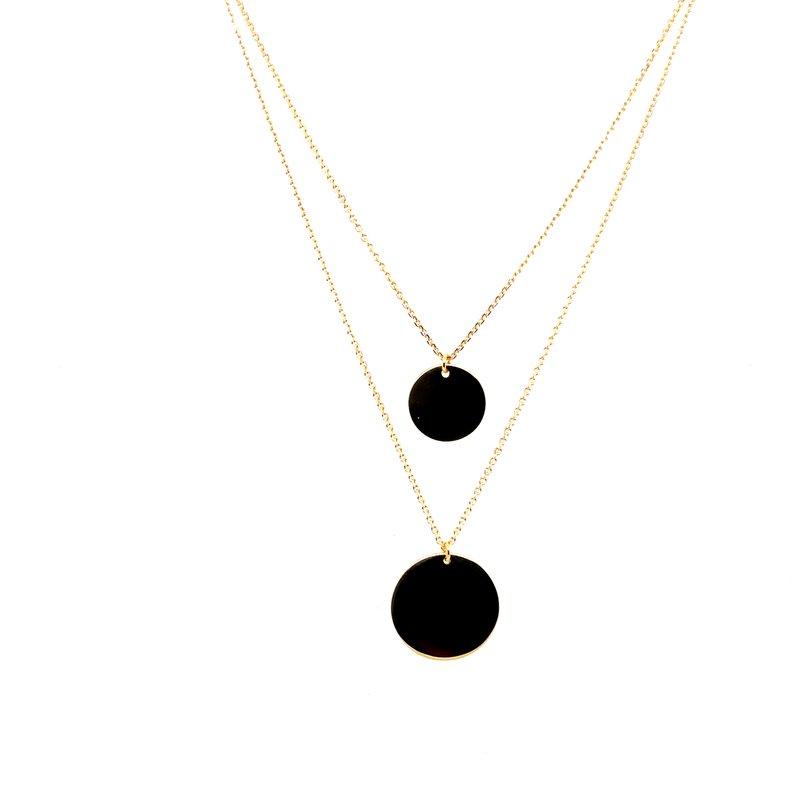 Midas 14 Karat Yellow Gold Double Layered Round Disk Fashion Necklace