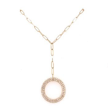 "14K Yellow Gold Paper Clip ""Y"" Necklace with Diamond Circle Pend"