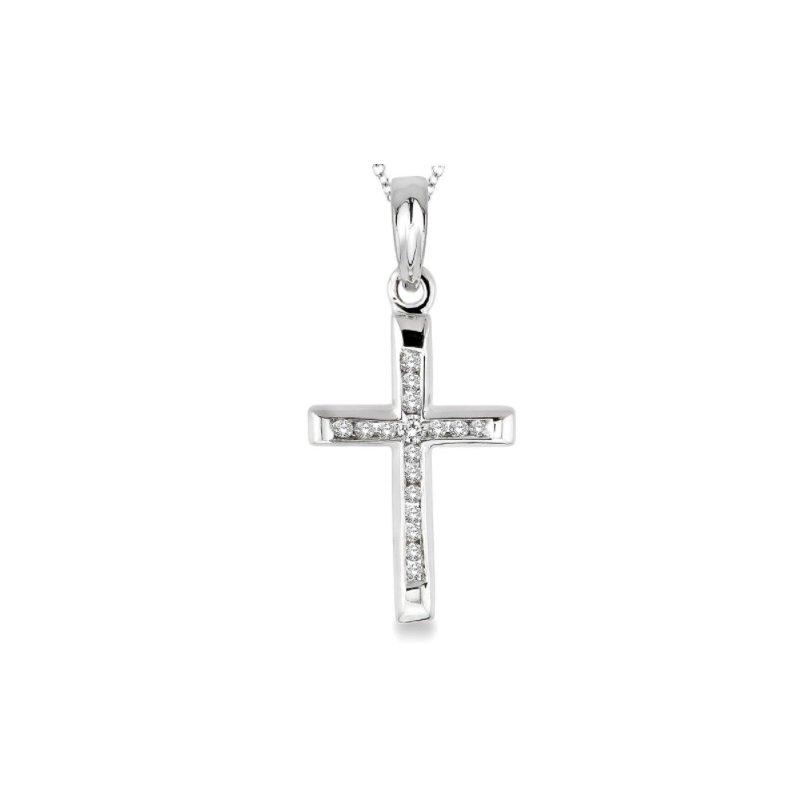 Ashi Diamonds Sterling Silver Channel Set Diamond Cross Necklace