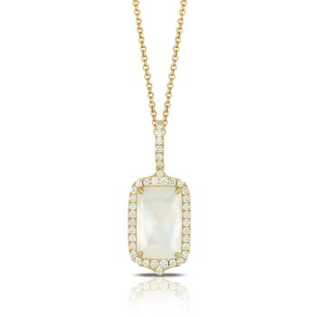 18 Karat Yellow Gold Rectangular Mother of Pearl with Clear Quartz Overlay and Diamond Halo Necklace