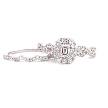 14 Karat White Gold Emerald Cut Center with Diamond Halo and Infinity Shank Engagement Ring
