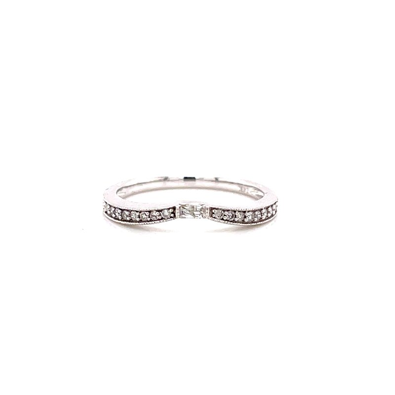 Corinth Collections  14 Karat White Gold Curved Vintage Round and Baguette Diamond Stacker Band