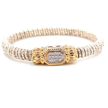 14 Karat Yellow Gold and Sterling Silver Diamond Bar with Pave Square Bracele
