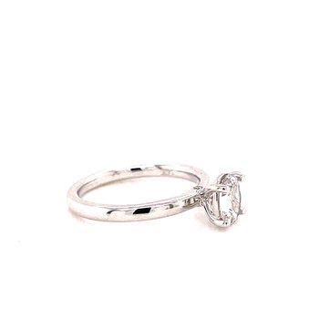 14 Karat White Gold 4 prong Oval Solitaire with Hidden Diamond Detail Engagement Ring