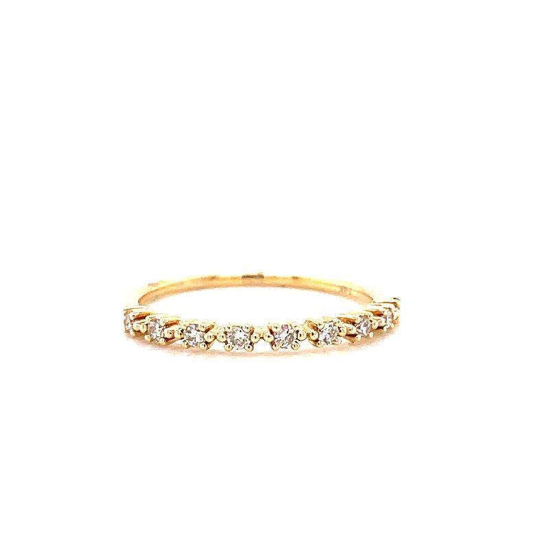 Corinth Collections  14 Karat Yellow Gold Petite 4- Prong Round Diamond Stacker Band