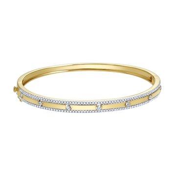 14 Karat Yellow Gold Diamond Bangle with 6 Round Diamond Accents Bracelet