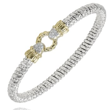 14 Karat Yellow Gold and Sterling Silver Open Diamond Circle Vahan Bracelet with Yellow Gold Beaded Accent