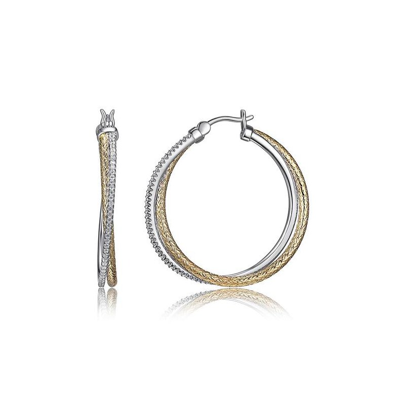 Corinth Collections  Sterling Silver and Gold Plated Intertwined Round Weaved Hoops with CZ