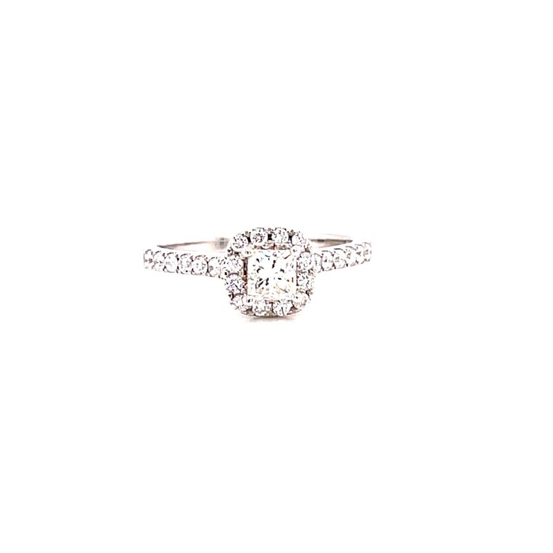 Corinth Collections  14 Karat White Gold Princess Cut Center Stone with Cushion Diamond Halo Engagement Ring