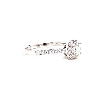 14 Karat White Gold Princess Cut Center Stone with Cushion Diamond Halo Engagement Ring