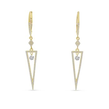 14 Karat Yellow Gold Triangle Diamond Dangle Earrings