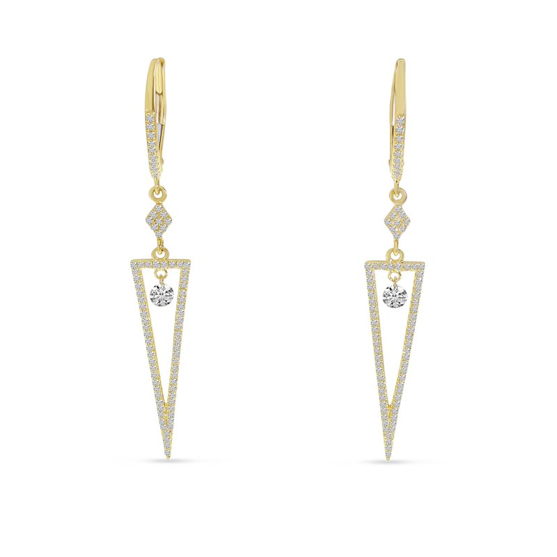 Corinth Collections  14 Karat Yellow Gold Triangle Diamond Dangle Earrings