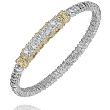 14 Karat Yellow Gold and Sterling Silver Diamond Bar Vahan Bracelet
