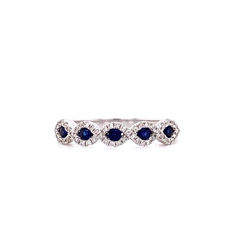 Corinth Collections  14K White Gold Sapphire and Diamond Band