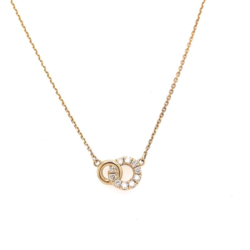 Corinth Collections  14K Yellow Gold Interlocked Circles with Diamonds Necklace