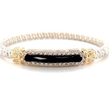 14 Karat Yellow Gold and Sterling Silver Black Onyx and Diamond Bar Bracelet