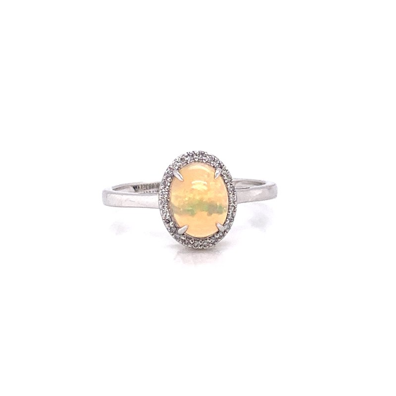 Corinth Collections  14K White Gold Opal with Diamond Halo