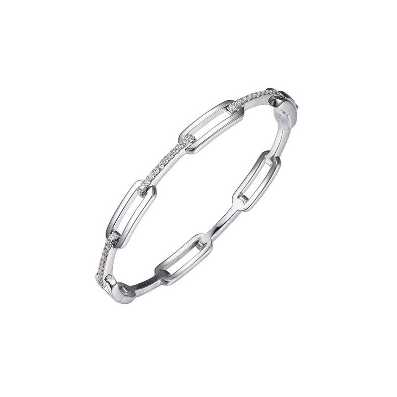 Corinth Collections  Sterling Silver and CZ Paper Clip Bangle
